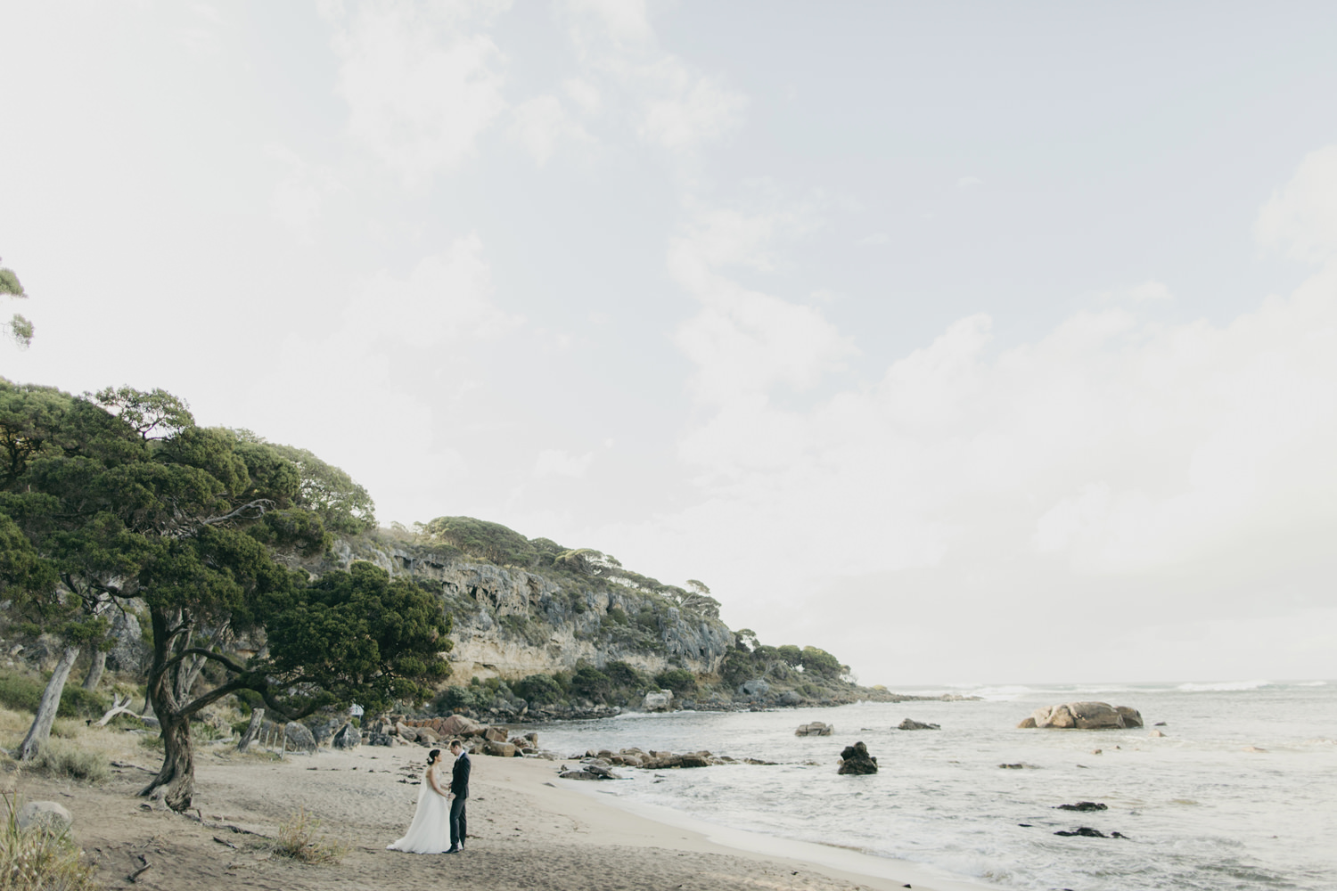 bride and groom on beach in dunsborough